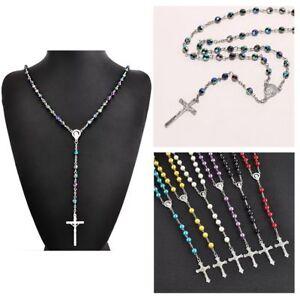Charme-Rosenkranz-Kette-Jesus-Jungfrau-Maria-Anhaenger-Kreuz-Halskette