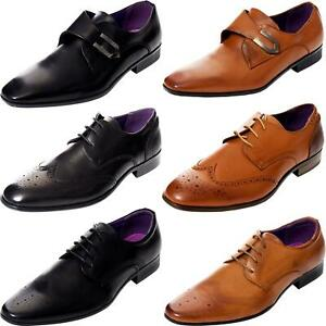 Mens-Faux-Leather-Shoes-Smart-Formal-Wedding-Office-Lace-Up-Designer-Brogues