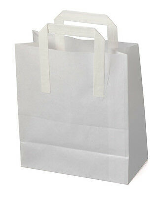 x 20 White Carrier Bags with Flat Handles 21cm x 25cm + 11cm