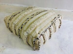 Image Is Loading Vintage Moroccan Wedding Blanket Pouf Floor Cushion Pillow