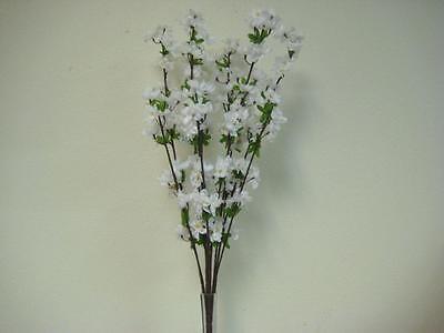 "WHITE Cherry Blossom Bush 28"" Artificial Silk Flower 2873WT"