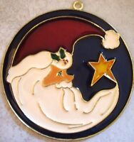 Brand Handcrafted Stained Glass Christmas Three Ornaments Santa, Deer