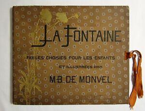 Antique-LA-FONTAINE-FABLES-French-Children-039-s-Book-M-B-DE-MONVEL-ILLUSTRATED