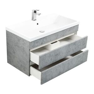 Details zu Badezimmer Set Waschtisch Unterschrank 90cm Waschbecken Beton  Badmöbel Gäste WC
