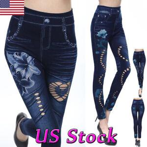 Women-Leggings-New-Skinny-High-Waist-Jeans-Trousers-Denim-Stretchy-Pencil-Pants