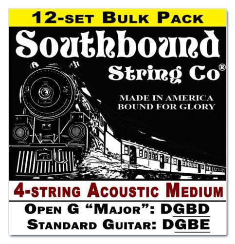 Open D 4-string Acoustic Med 12-pack Cigar Box Guitar String Set