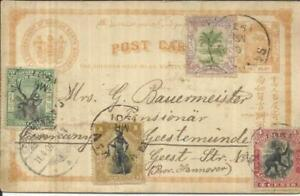 North Borneo postal card-HG:3 uprated SG#95,#93,#97,#99 SANDAKAN 6/MR/1901