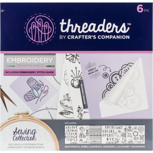 Crafter/'s Companion Threaders Embroidery Transfer Sheets-sewing 6//pkg