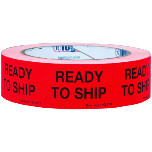 """Red 1-1//4 x 2/"""" Tape Logic DL1171 /""""Ready To Ship /"""" Labels Roll of 500"""