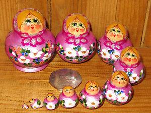 Matryoshka-Russian-nesting-doll-MINIATURE-10-LILAC-TINY-Babushka-ULYANOVA-signed