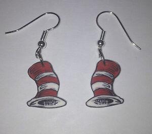dr seuss earrings hat charms