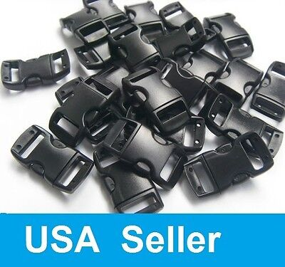 """50 100 1000 3/8"""" Curved Side Release Buckles Black Webbing Straps For Paracord"""