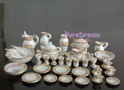 1/12 Dollhouse Miniature Dining Ware Porcelain Tea Set  Dish Cup Plate 40pcs