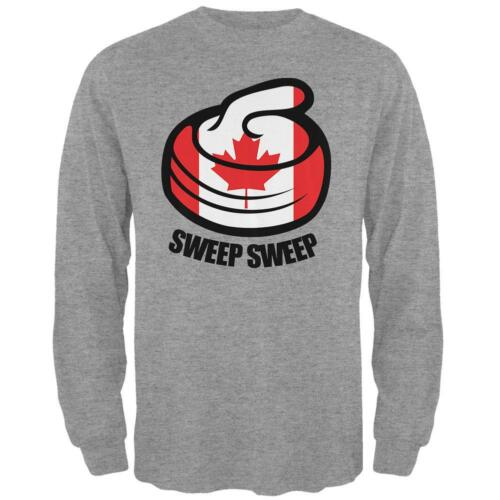 Winter Sports Flag Curling Sweep Sweep Canada Mens Long Sleeve T Shirt