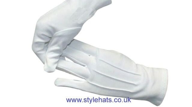 White Multi Purpose Gloves Cotton Parade Dress Driving Bands Policing Size S