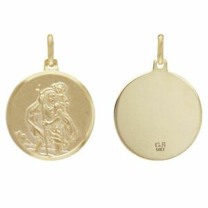 14k-Yellow-Gold-Embossed-Saint-Christopher-Round-Medal-Pendant-2-9-grams