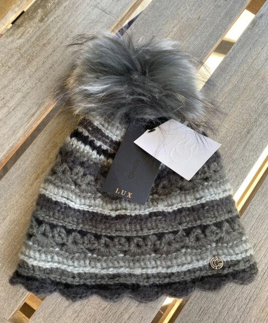 Chaos Women's One Size Pom Knitted Pattern Saffron Beanie Black Grey NWT $73
