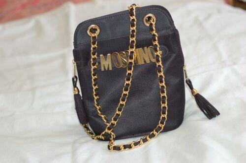 Moschino kettingzak gouden satijnen zwarte metalen 4Bxqrp47