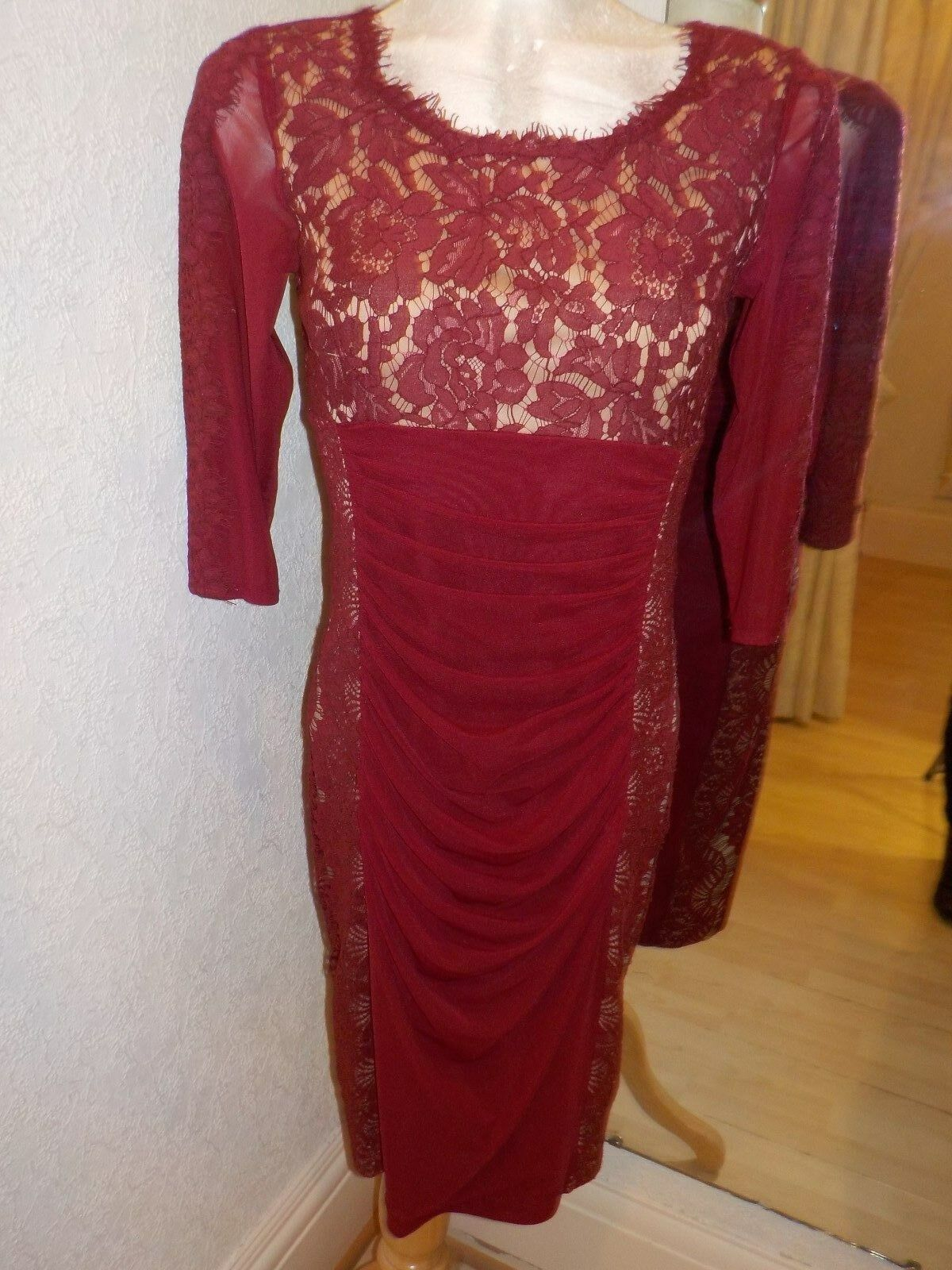 Tia Burgundy Red Lace Dress 78740 Size 14