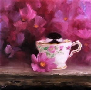 Chickadee Floral Painting Tea Cup Cute Bird Pink Flowers Original Oil CES NFAC