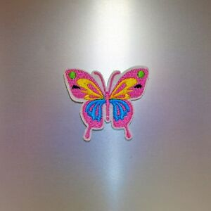 Pink-Butterfly-Patch-Iron-On-Badge-Embroidered-Motif-Animal-Cute-Applique
