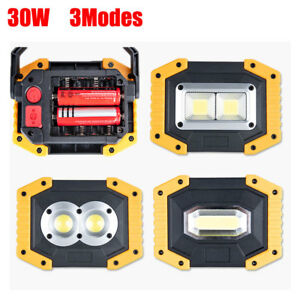 Details about Portable 30W LED Flood Spot Light Outdoor Camping Work Lamp  USB/Battery Operated