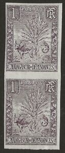 Madagascar-1903-Animals-Zebu-and-Lemur-1c-IMPERF-PAIR-Scott-63var-Fine-H
