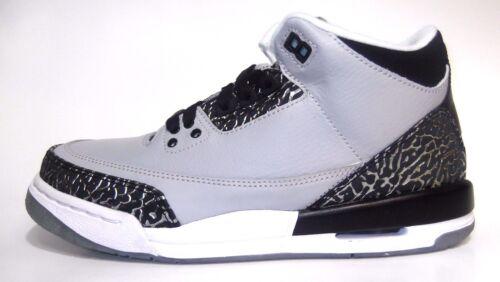 """NEW Youth Air Jordan III /""""Wolf Grey/"""" Silver Black 398614-004 BG GS Cement 3 NIB"""