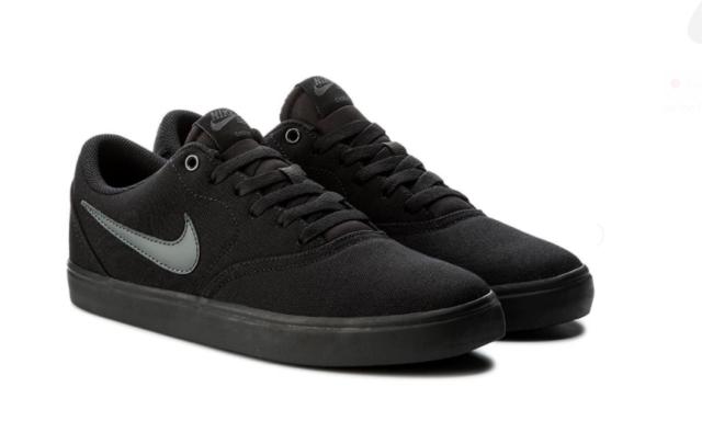 ff1188f0907b Nike SB Check Solar Mens Womens Black Canvas Skate Shoes Brand New Size UK  10