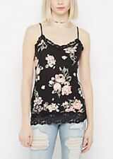 rue 21~New With Tags~ Women's Black Floral Lace Trimmed Cami Top Size XL
