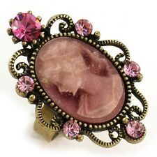 Antique Gold Vintage Style CAMEO Ring Lady Pink Stone Crystal Women Jewelry CR3
