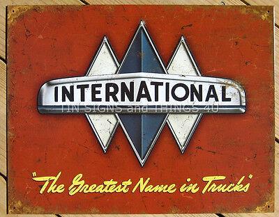 International Trucks TIN SIGN metal wall decor garage vtg emblem poster ad 1675