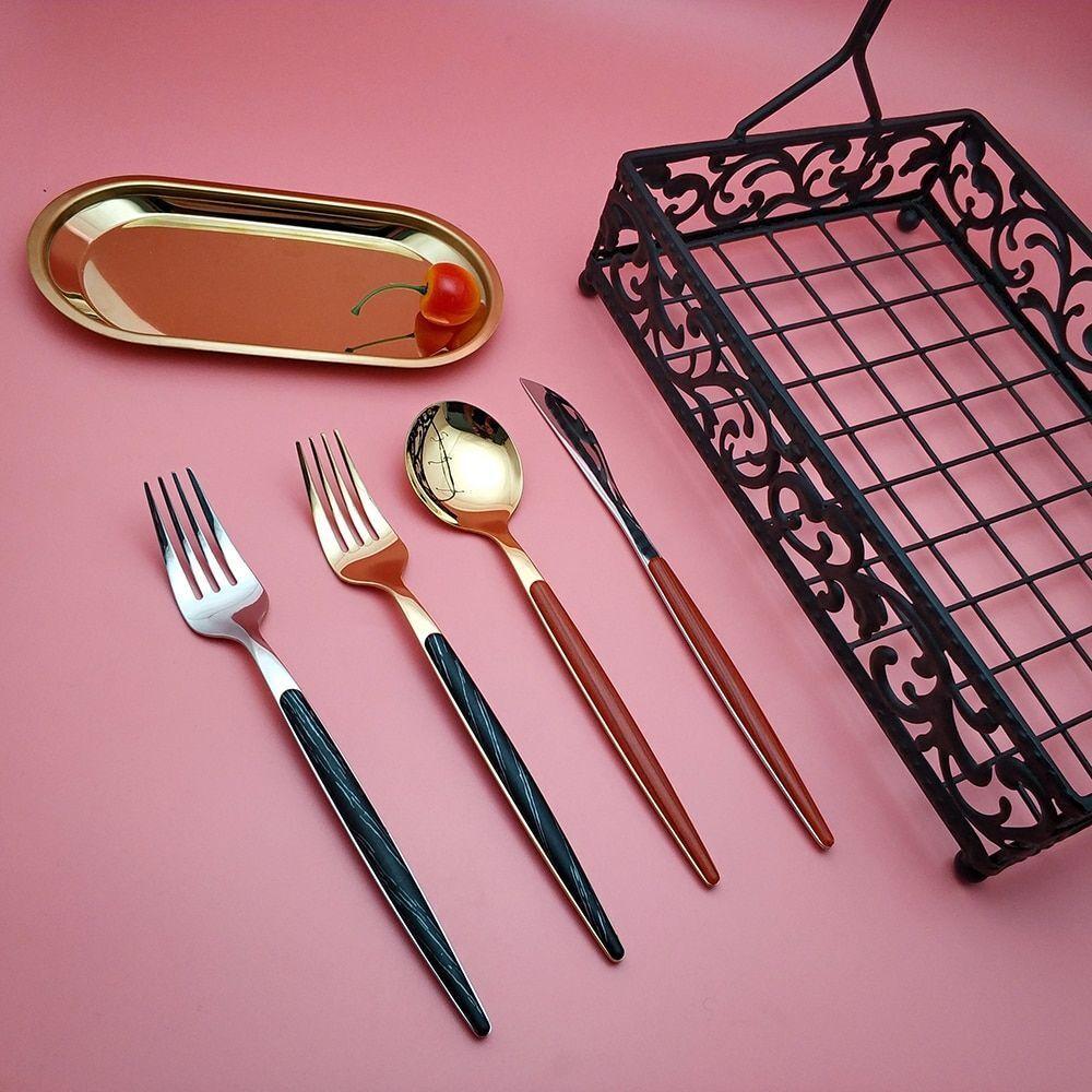 Or Noir En Bois Vaisselle en Acier Inoxydable Couteau Fourchette Cuillère Set de couverts