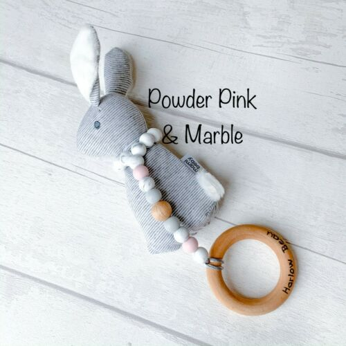 ChristeningBaby Shower Silicone Teething Toy Teether Rattle Personalised