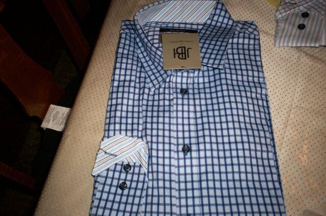 NWT JBH JHANES BARNES SPREAD COLLAR SLIM FIT DRESS SHIRT-BLUE//NAVY PLAID-XXL 2X
