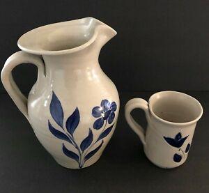 Vintage Williamsburg Pottery Salt Glaze Stoneware Cobalt Blue Pitcher and Mug