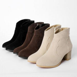 Womens-Casual-Shoes-Faux-Suede-Med-Block-Heels-Side-Zip-Ankle-Boots-US-Size-b290