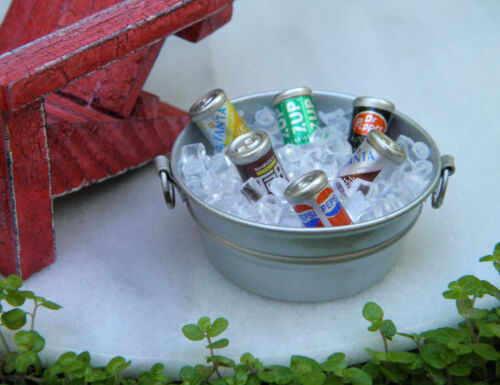 Miniature Dollhouse FAIRY GARDEN Accessories ~ Tub with Ice /& Soda Cans ~ NEW