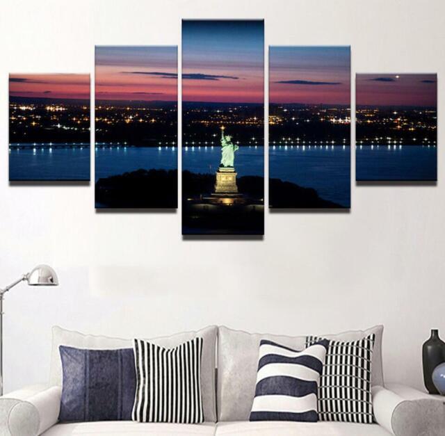 City Night View Statue Of Liberty 5 Piece HD Art Wall Home