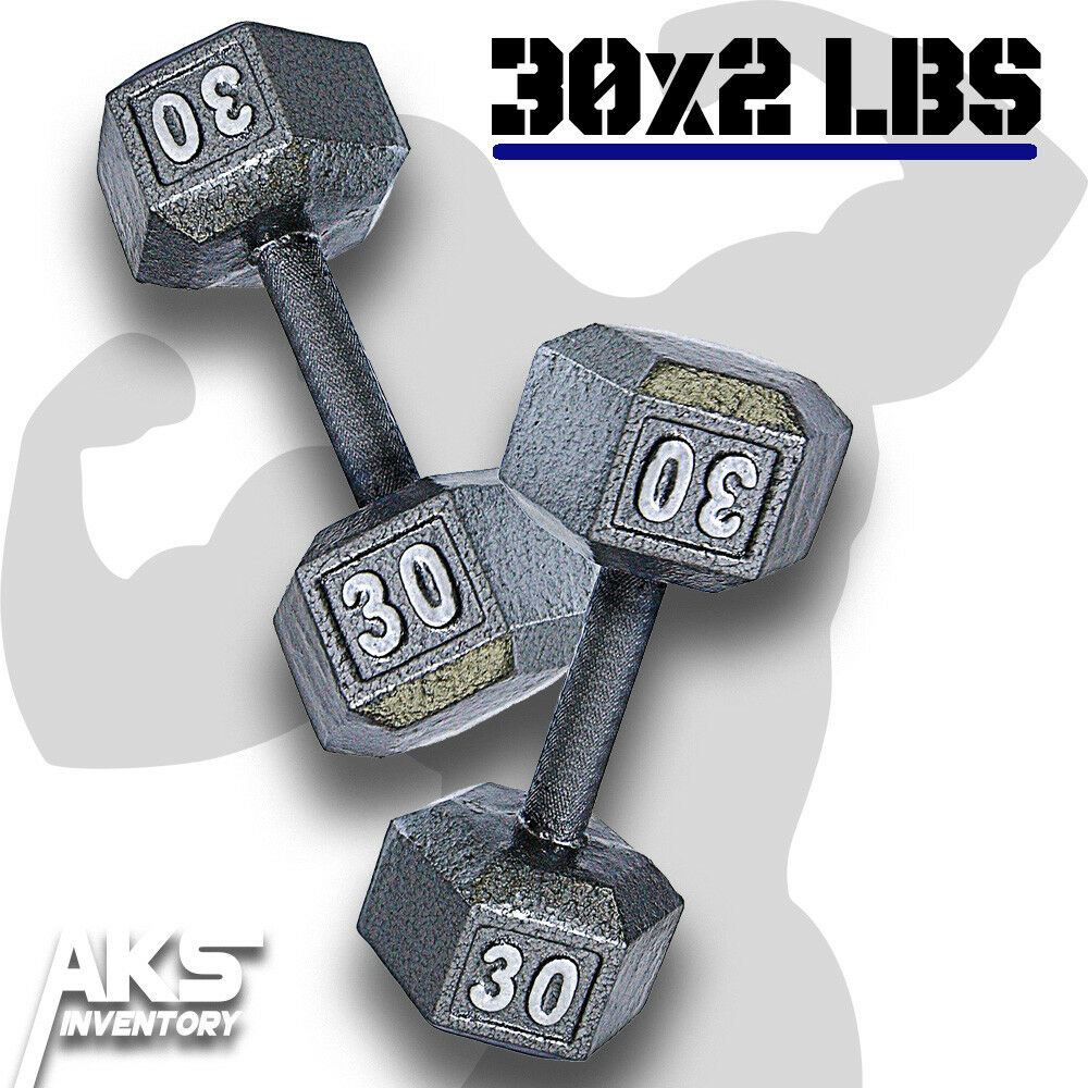 Pair of 30 Pound Cast Iron Hex Dumbells Home Gym Exercise Workout Free Weights