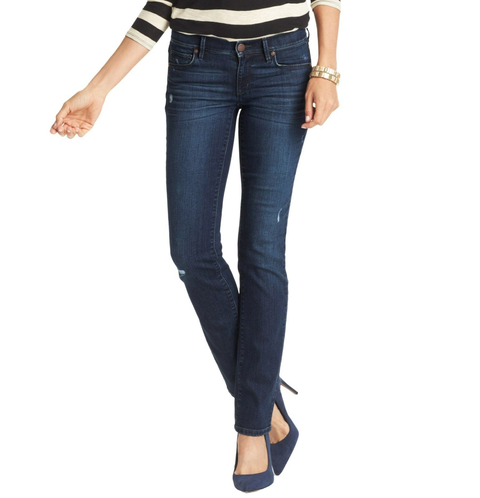 NWT Ann Taylor Loft Modern Straight Leg Distressed Jeans, Size 0 a