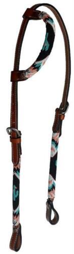 1 Ear Leather Headstall OR Choice O//Reins-Beaded Overlay-Cactus-Teal Peach Black