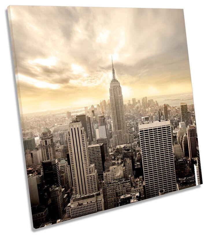 New York Stadt Skyline Cream SQUARE CANVAS Wand Kunst Drucken Bild