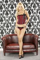 Bedroom Bordello Red/black Straight Corset & Double Strap G-string. Plus Sizes