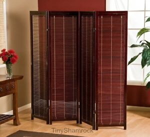 Image Is Loading Room Divider Screen 4 Panel Brown Wood Shutters