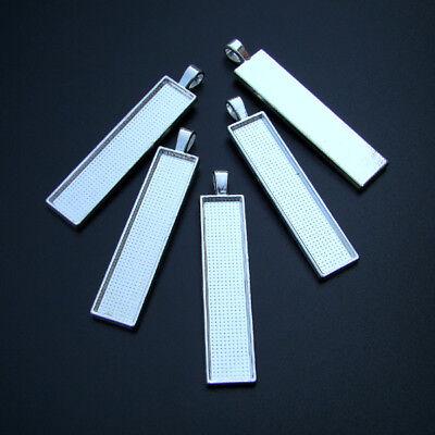 p00878x2 5 FASSUNGEN SilberFARBE für 10x50mm RECHTECKIGE Cabochons Rohling
