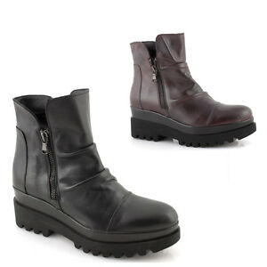 Stivaletti-donna-bassi-neri-pelle-zeppa-scarpe-suola-alta-tronchetti-made-Italy