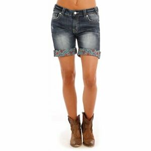 11154b3c Image is loading Rock-amp-Roll-Cowgirl-Boyfriend-Americana-Denim-Shorts-