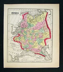 1857 Morse Map Russia In Europe Poland Latvia Finland Moscow St