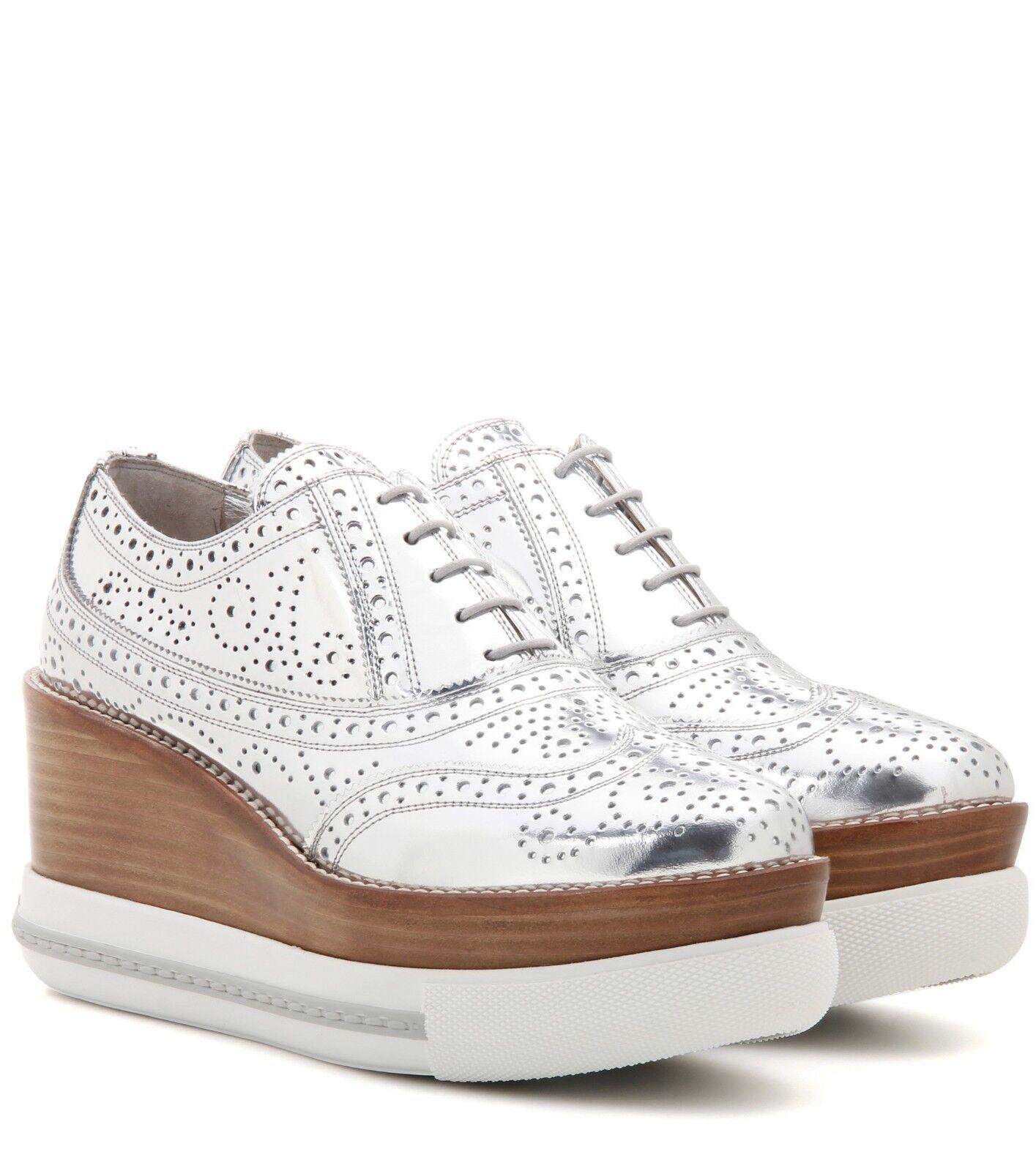 Miu Miu PRADA SEXY Plata PLATFORM Oxfords Oxfords Oxfords SNEAKERS I LOVE Zapatos bf2e4c